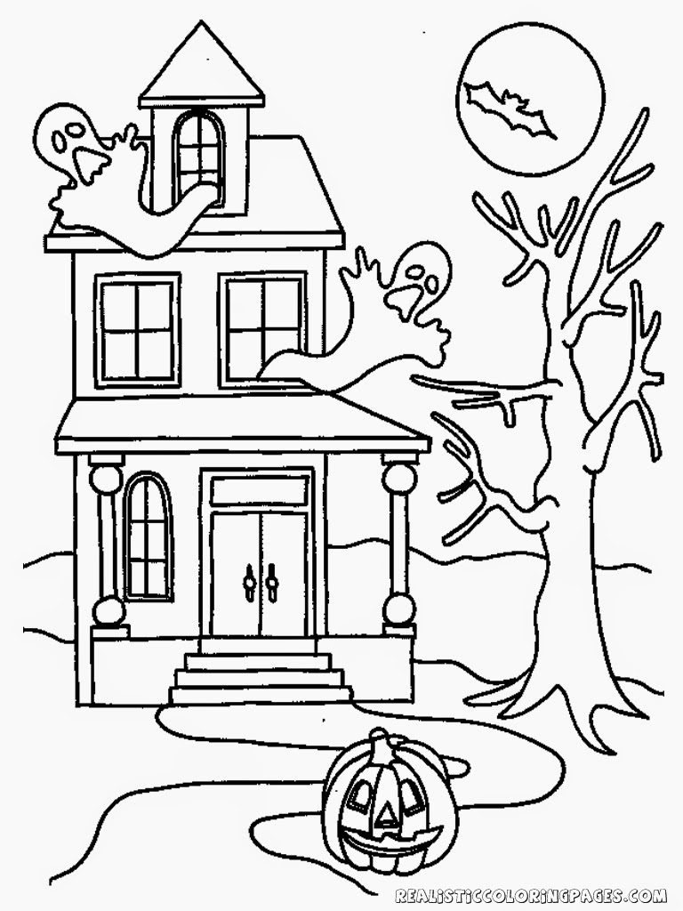 halloween pumpkin ghost house kids coloring pages