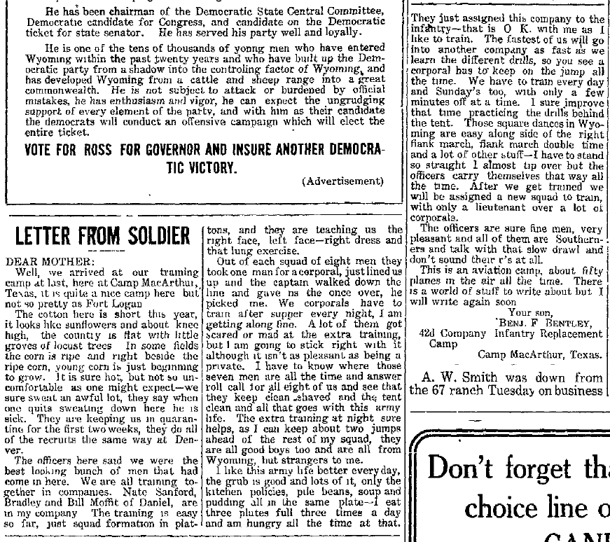 Climbing My Family Tree: Letter from A Soldier, Big Piney Examiner, Big Piney, Wyoming 1 August 1918