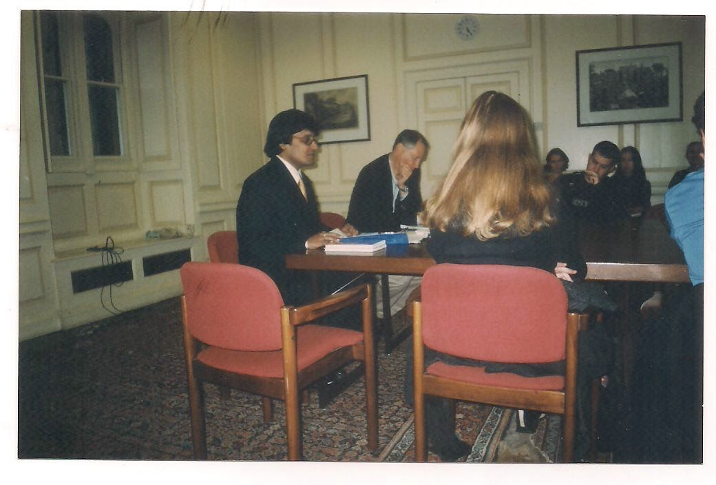 At Oxford lecturing on T S Eliot, with Ronald Bush in the chair