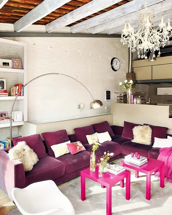 modern purple, pink and white living room