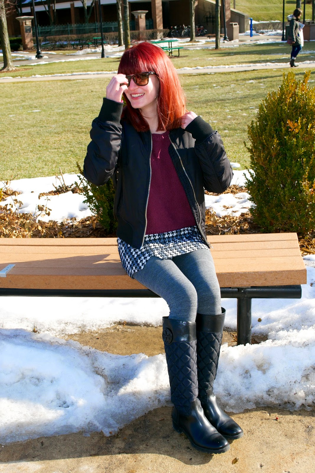 depaul fashion, tory burch boots, topshop bomber jacket, topshop skort, fleece lined tights, ray ban foldable wayfarer, milly backpack, what i wore, Fashion Faves, chicago fashion blogger