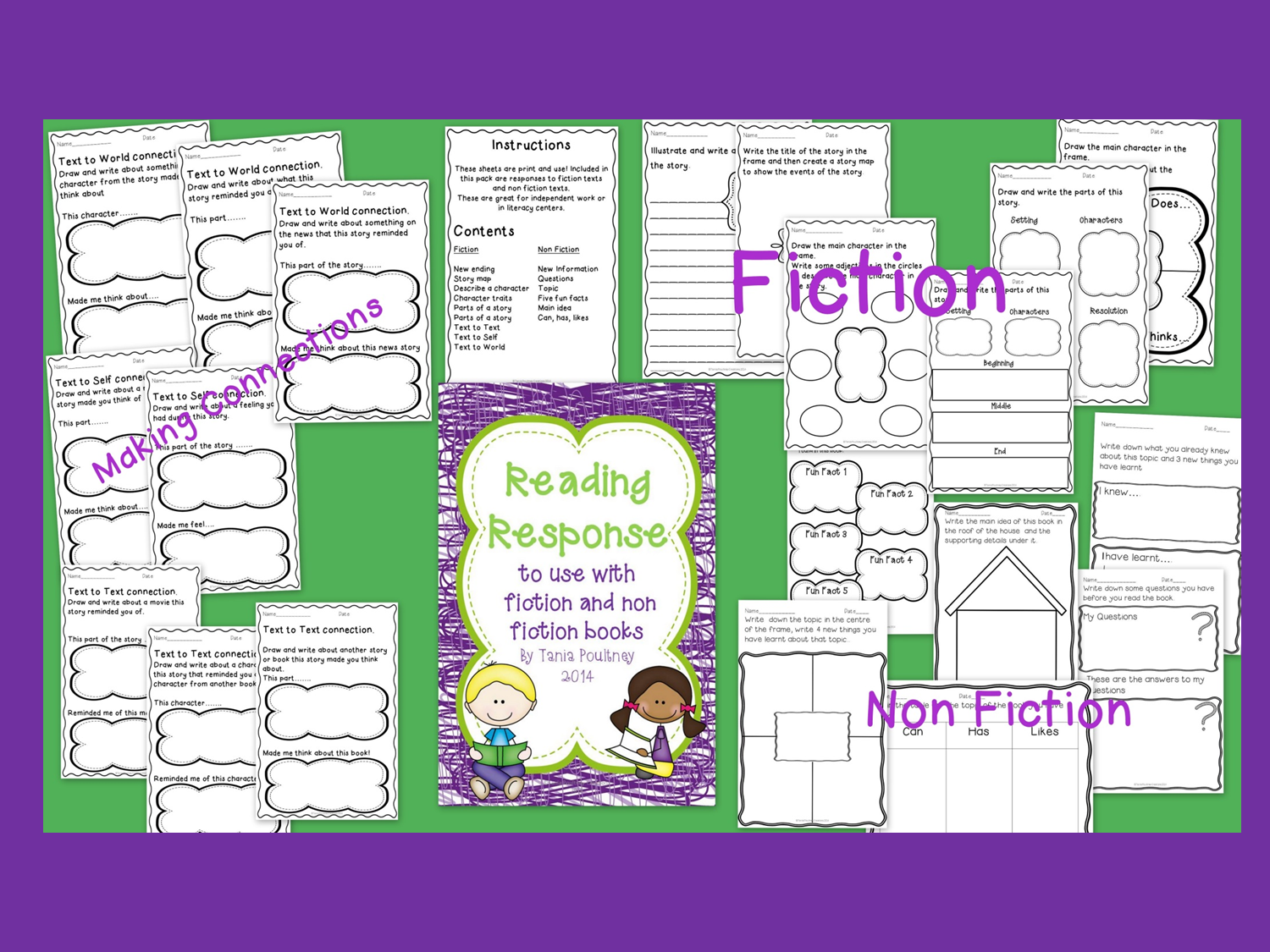 http://www.teacherspayteachers.com/Product/Reading-Response-for-fiction-and-non-fiction-books-1077371