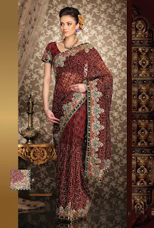 Maroon Faux Gerogette Wedding Saree