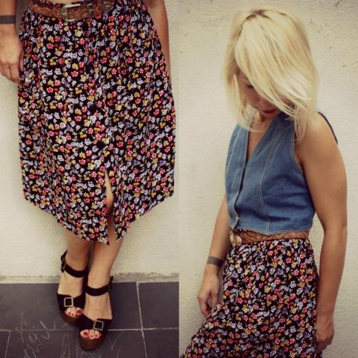 falda vintage floreada