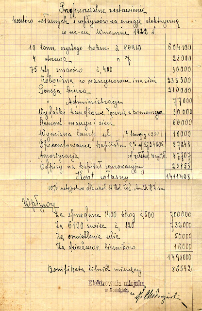Elektrownia w Końskich - przypuszczalne zestawienie kosztów własnych i wpływów za energię elektryczną w miesiącu wrześniu 1922. Dok. ze zborów KW.