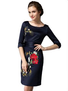 model dress pesta tiga perempat motif bunga