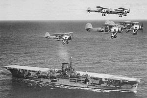 WW2 Battle of Atlanticf -Hunt for Bismarck - photo HMS Ark Royal and Swordfish