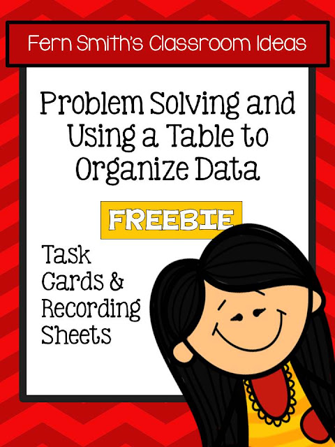 FREE Problem Solving with Tables to Organize Data Task Cards NO Common Core on Classroom Freebies!