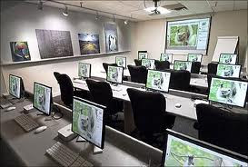 classroom with computers at every desk