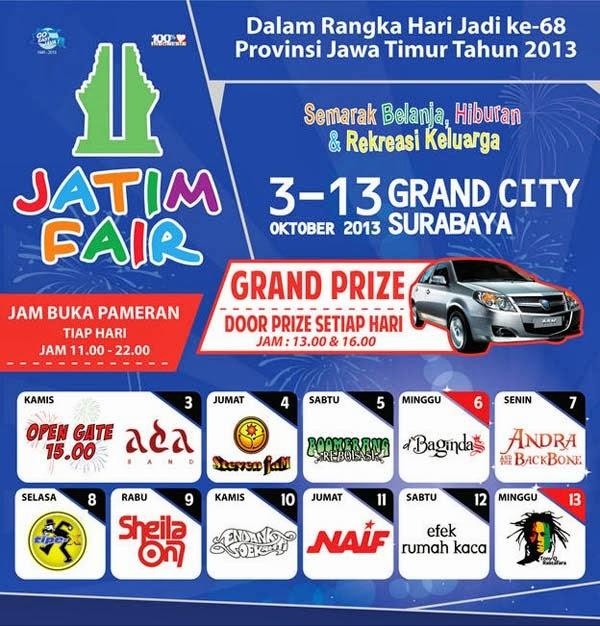 Jadwal Konser Musik Jatim Fair 2013 | Grand City Surabaya