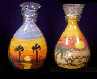 تلوين الرمل - الرسم بالرمل فى زجاجات - الرمل الملون