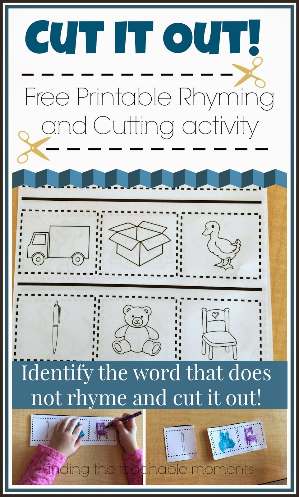 Cut It Out! --> Cut out the word that doesn't rhyme.  Free Printable!