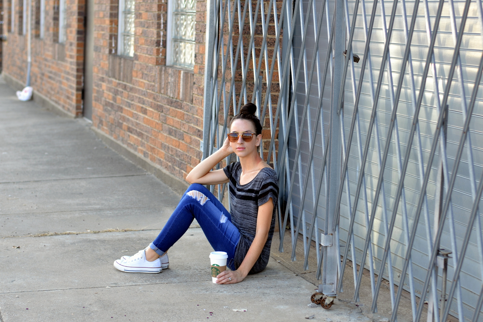 Distressed Jeans, American Eagle, Converse, Starbucks, Top Knot