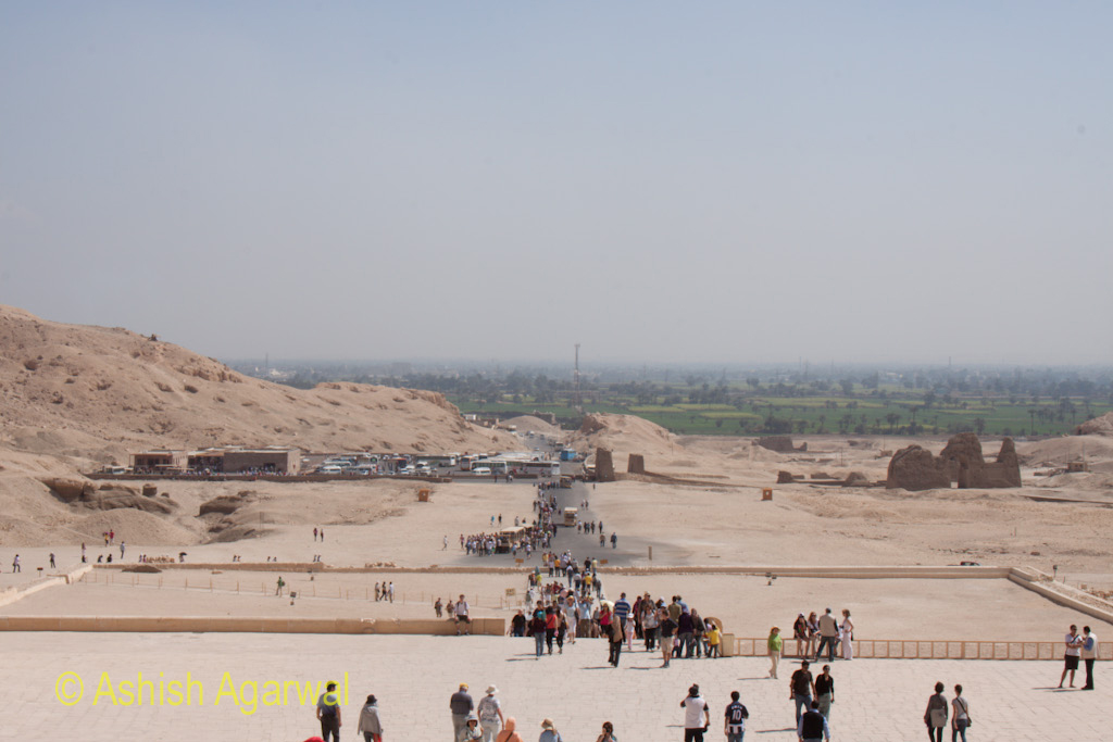 View of the outer section of the Queen Hatshepsut temple in Deir El Bahri, just outslide Luxor in Egypt
