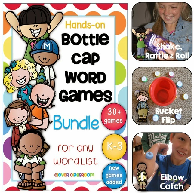 Bottle Cap Games BUNDLE for any word list - original, hands-on games