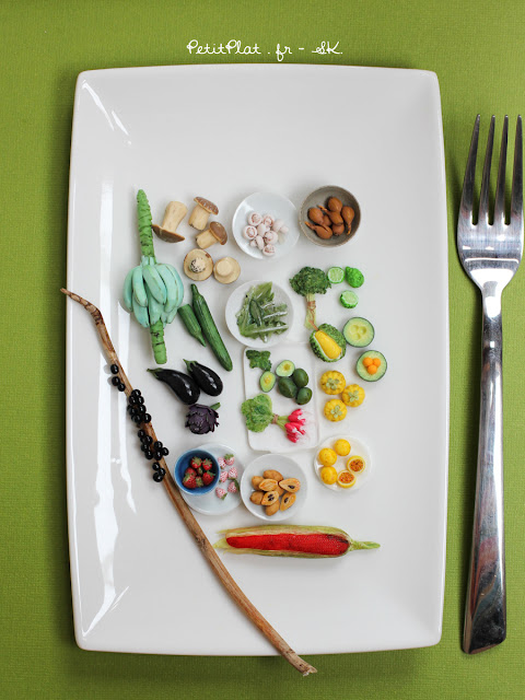 Miniature fruit and vegetables sculptures by Stephanie Kilgast, PetitPlat Miniatures