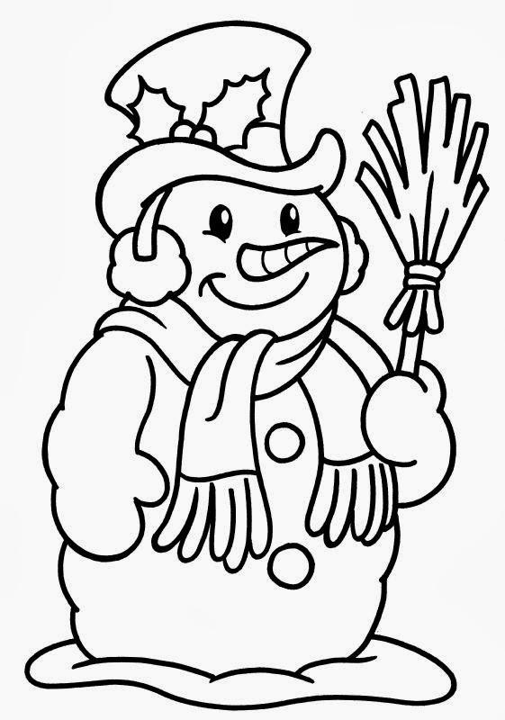 Kinder mit Schneemann zum Ausmalen HelloKids  - Schneemänner Zum Ausmalen