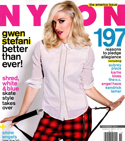 Gwen Stefani on the cover  of Nylon USA November 2012 issue