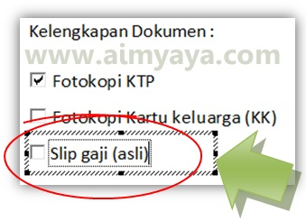Gambar: Mengganti teks checkbox (kotak cek) di microsoft word 2010