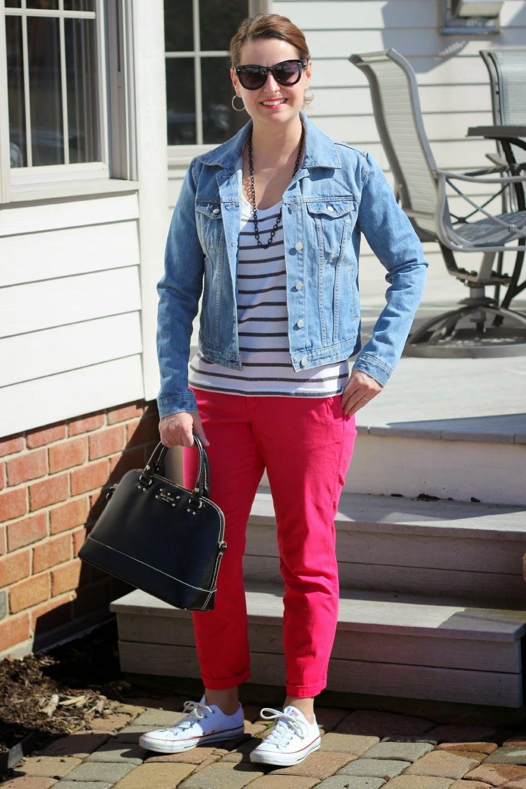 Spring look, red chinos, converse, denim jacket, kate spade bag, stripes