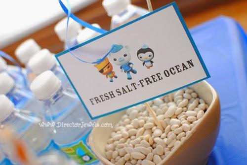 Octonauts Birthday Party Food Ideas | Fresh Salt-Free Ocean Water Bottles | Under the Sea Party at directorjewels.com