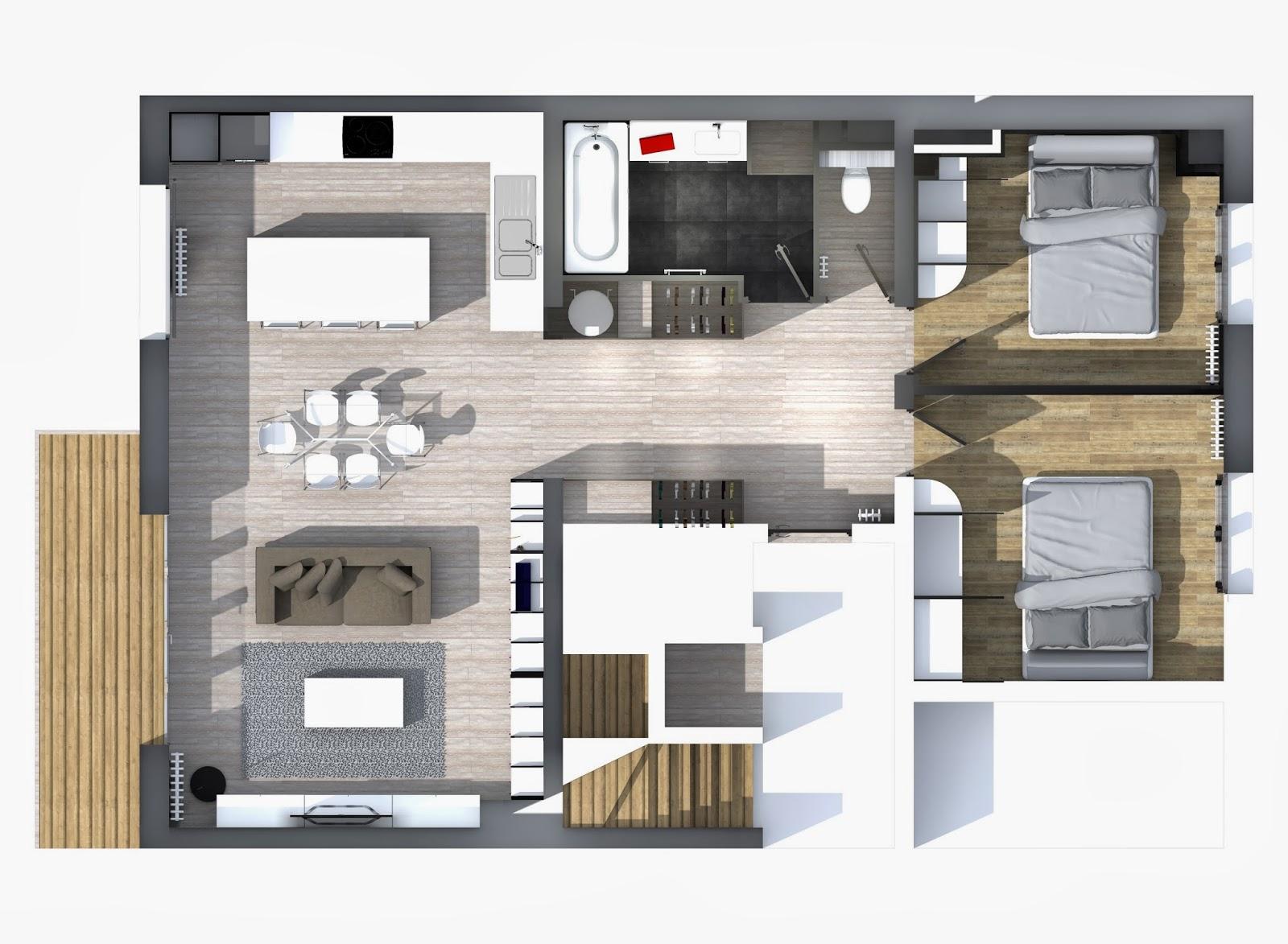 cg architecture amm nagement d 39 un appartement de 80m tours 37. Black Bedroom Furniture Sets. Home Design Ideas