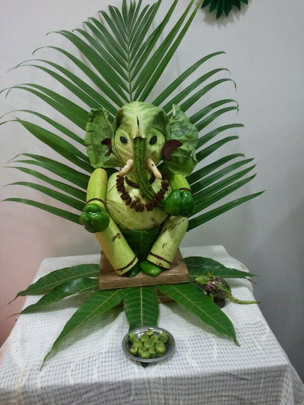 1000 images about food decoration on pinterest fruit for Artificial flower decoration ideas for ganpati