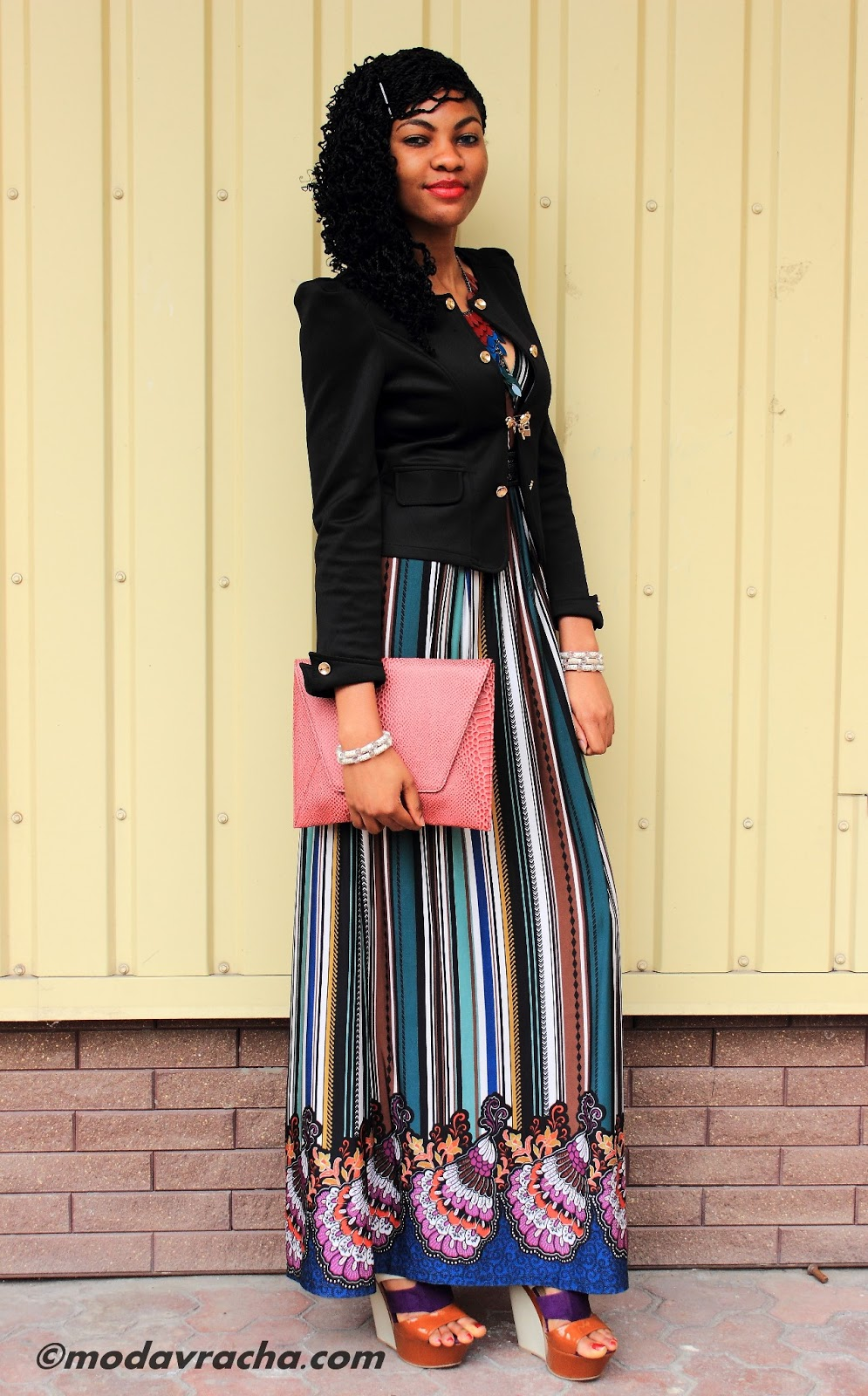Nigerian fashion blogger modavracha in beautiful maxi dress and multicolor wedges