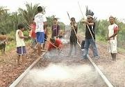 O trecho foi interditado ontem (2), por um grupo de índios Guajajara e . (indios)