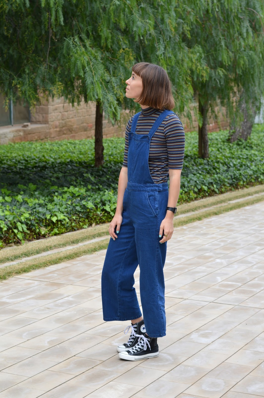 Zara seventies denim dungarees with wide leg