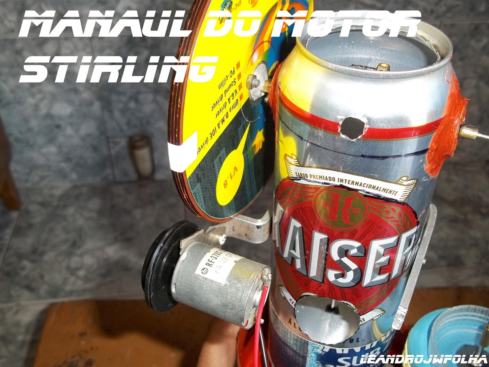 Manual do motor Stirling, foto do motor de ejetar a fita cassete de aparelho de vídeo cassete usado como gerador
