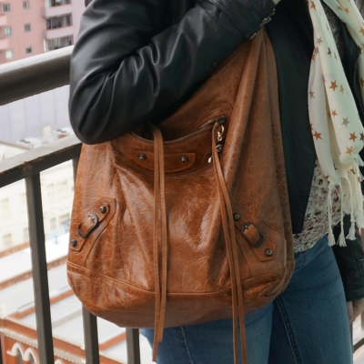 Away From Blue | Balenciaga autumne truffle brown RH day bag leather jacket