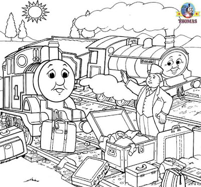 Scottish twin engines Donald and Douglas Thomas the train coloring pages for kids picture printables