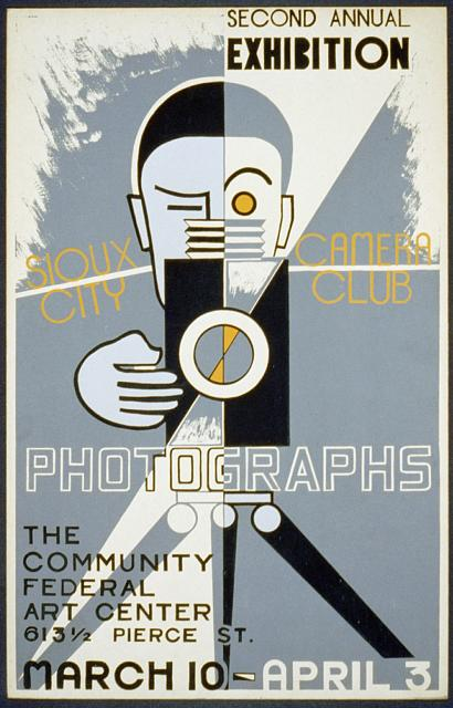 wpa, federal art project, art, photography, vintage, vintage posters, retro prints, classic posters, graphic design, free download, Sioux City Camera Club Photographs, The Community Federal Art Center - Vintage Photography Exhibition Poster