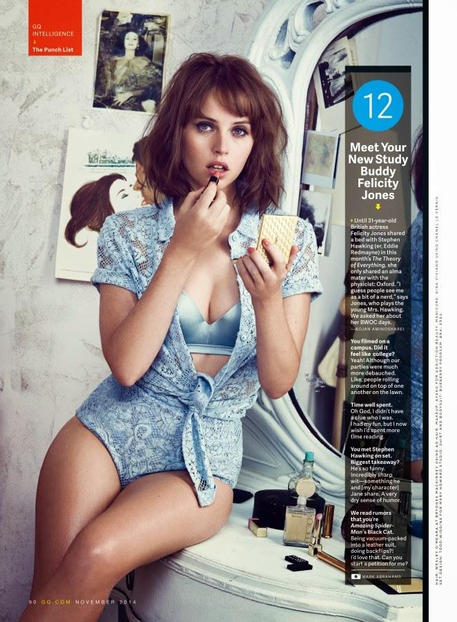 Felicity Jones flaunts lingerie looks for GQ Magazine November 2014
