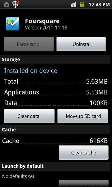 Clear Cache of Application