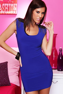ROYAL BLUE SCOOP NECK STRONG SHOULDER CHAIN DECOR MINI DRESS