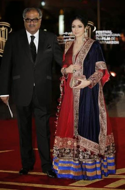 1823 - Sridevi In Red Anarkali Suit at Marrakech international film festival