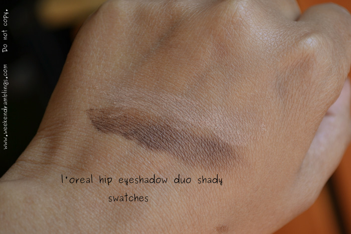 L'Oreal Makeup HIP High Intensity Pigments Eyeshadow Duo Shady Matte Brown Neutral Darker Skintone Beauty Blog Reviews Swatches FOTD Looks EOTD