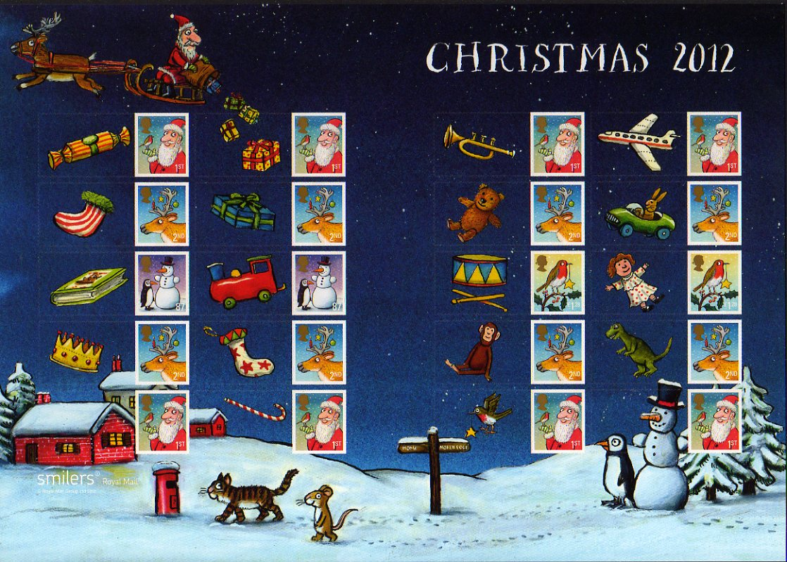 2012 Christmas Generic Sheet of stamps.
