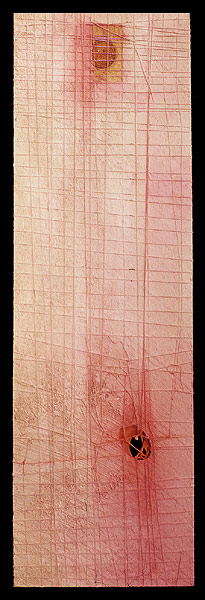 Skin/Flesh (backside), 1999. oil & mixed media on wood. 91.5 x 28.6 cm