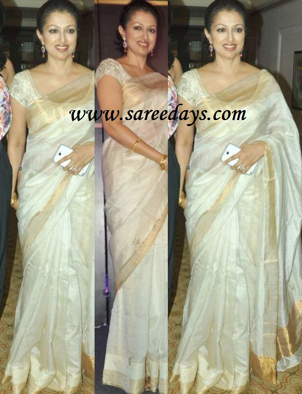 Latest saree designs gautami in off white uppada shimmer saree gautami in off white uppada shimmer saree altavistaventures Image collections