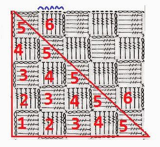 Узор крючком квадрат по диагонали