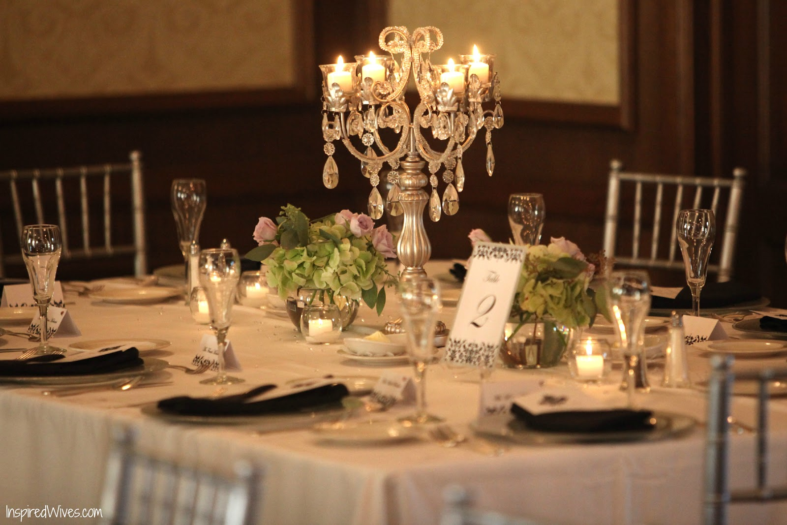 Inspired i dos candelabra wedding centerpieces for Center arrangements for weddings