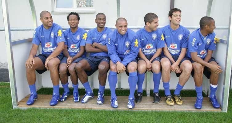 Seleção 2006 no banco: Ricardinho, Juninho Pernambucano, Gilberto silva, Gilberto, Robinho