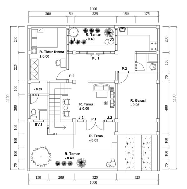 denah rumah 2 lantai luas tanah 10x11 meter desain denah