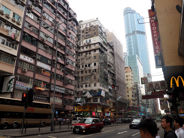 Skyscrapers and traffic on Argyle Street in Mong Kok, Kowloon, Hong Kong