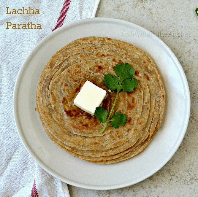 ... - Whole Wheat Lachha Paratha - Flaky Multilayered Indian Flatbread