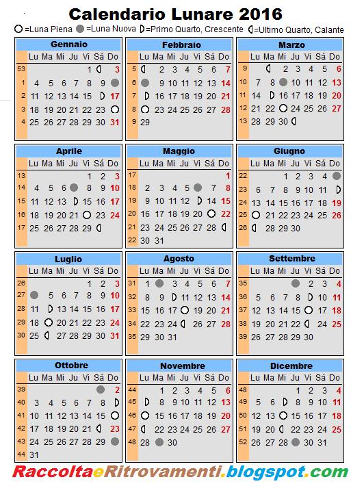 Raccolti e ritrovamenti calendario lunare 2016 for Almanaque lunar 2017