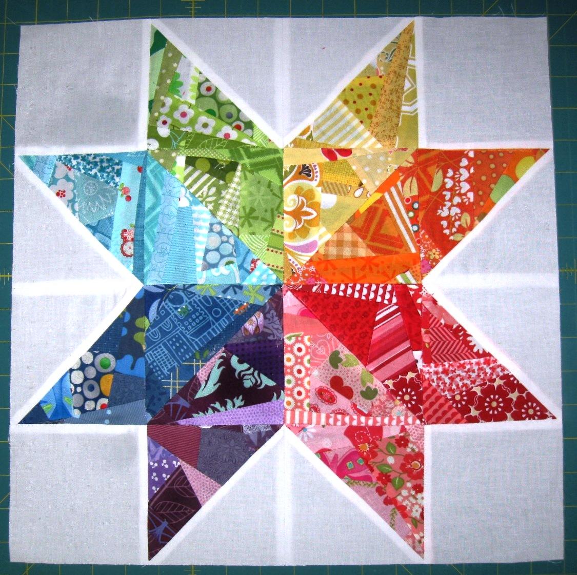 Happy quilting scrappy rainbow star tutorial for Scrap quilt